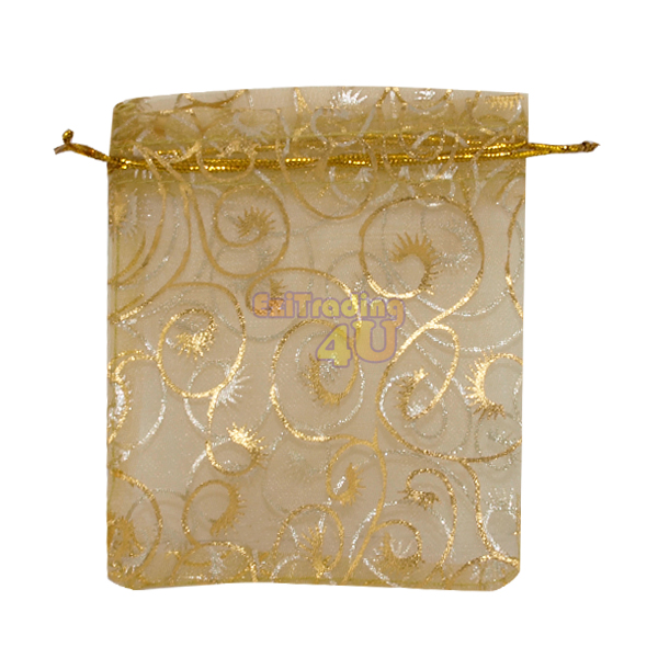 Gold Wedding Gift Bags : 40pcs Gold Eyelash Swirl Jewellery Organza Pouches Wedding Gift Bags ...