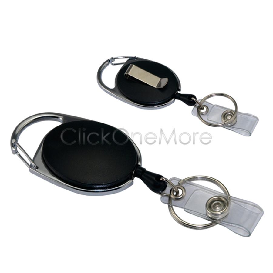 EZI-2-X-Carabiner-Retractable-Card-Holder-Recoil-Key-Ring-Belt-Clip-Pull-Chain