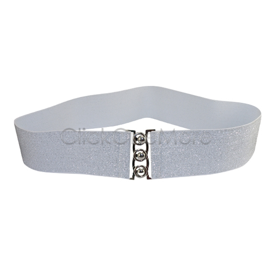 fanus silver white cinch buckle 2 inch wide stretch