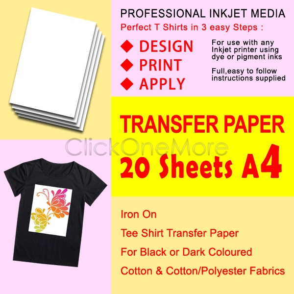 Gti 20 x t shirt transfer paper iron on for dark fabrics a4 for T shirt transfer paper for dark fabrics