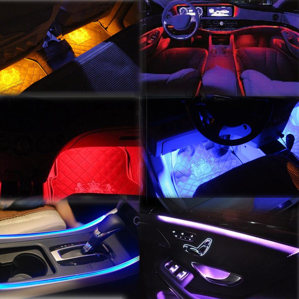 wow 12v car interior decor rgb led strip light 7 colors wireless music control ebay. Black Bedroom Furniture Sets. Home Design Ideas