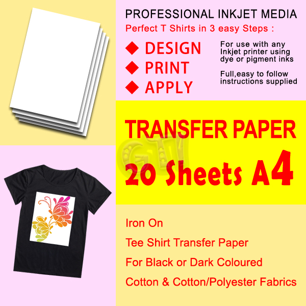 Gti 20 x t shirt transfer paper iron on for dark fabrics for Iron on shirt paper